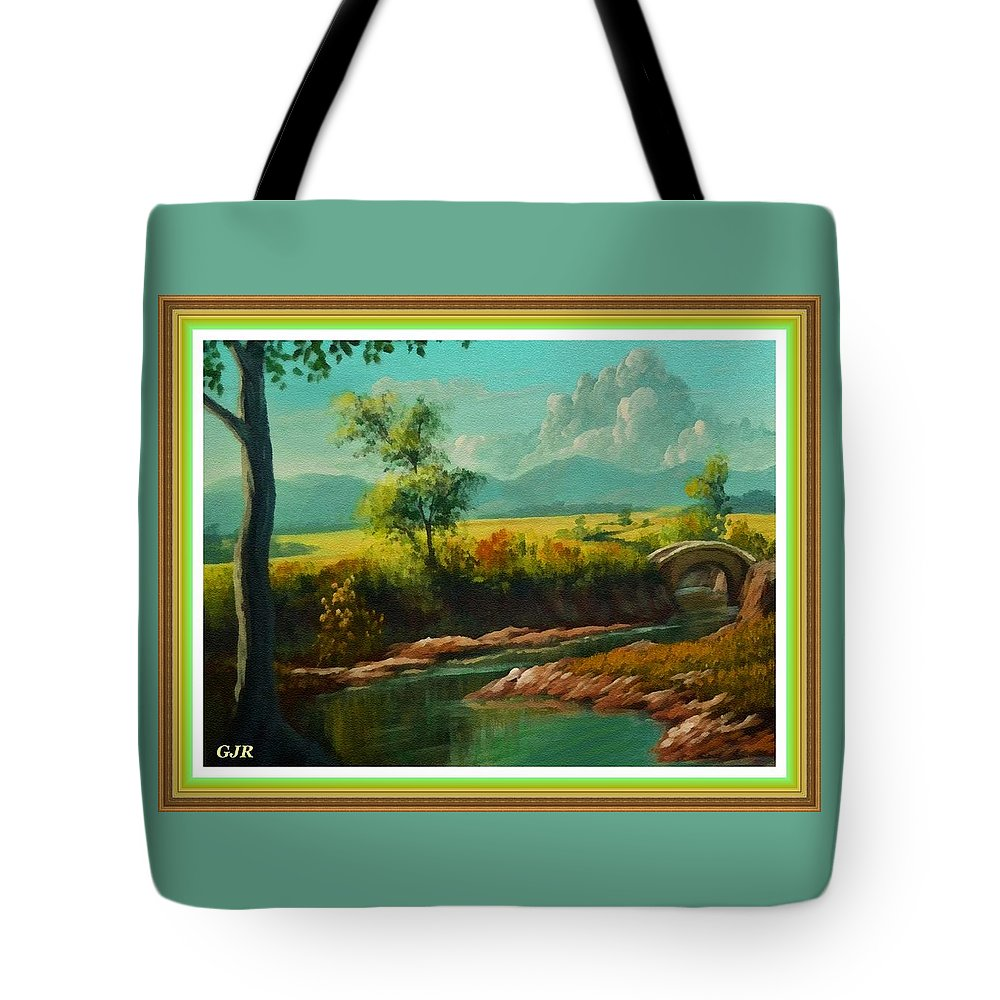 Riverside Tote Bag featuring the digital art Afternoon By The River With Peaceful Landscape L A S With Decorative Ornate Printed Frame. by Gert J Rheeders