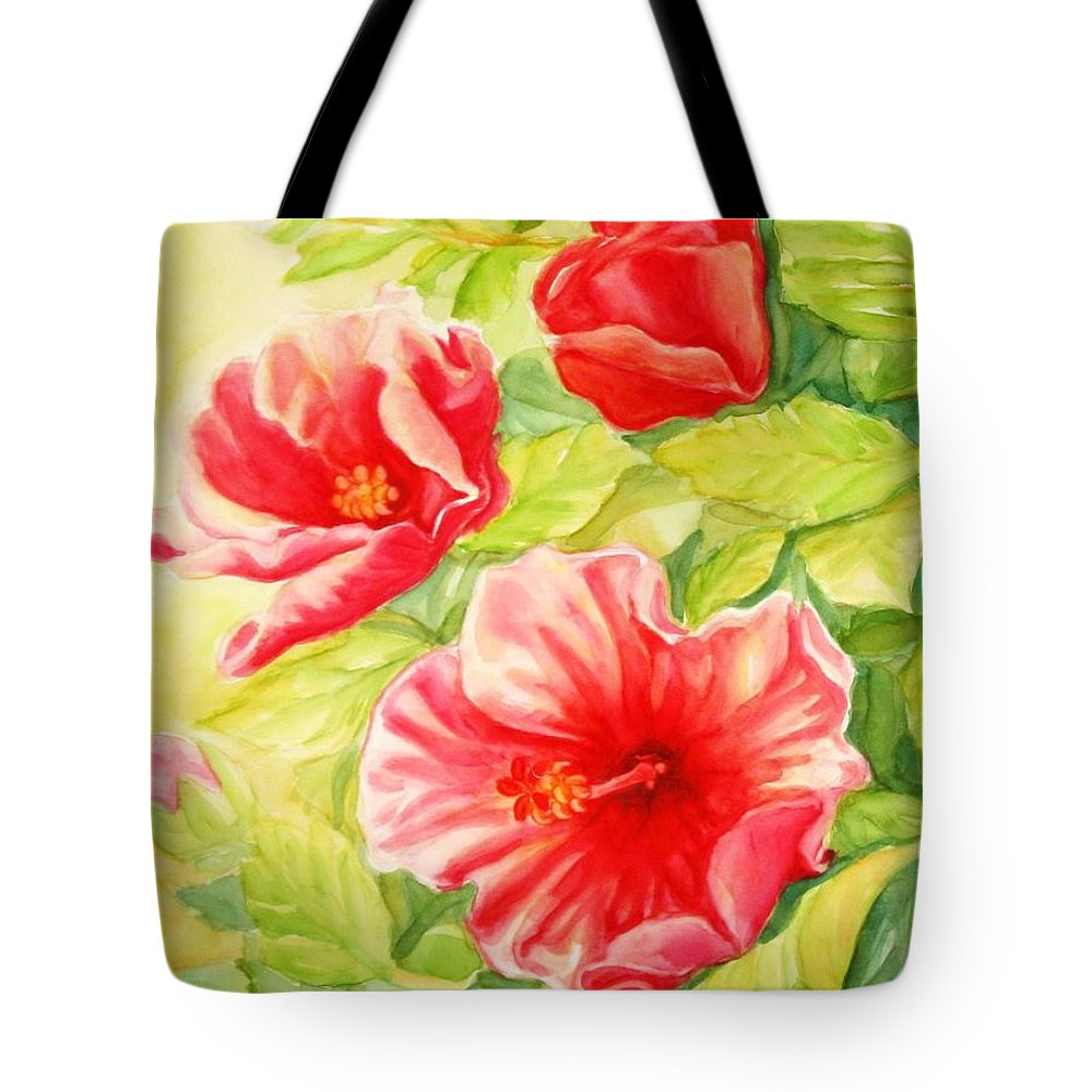 Flower Tote Bag featuring the painting Afternoon Hibiscus by Inese Poga