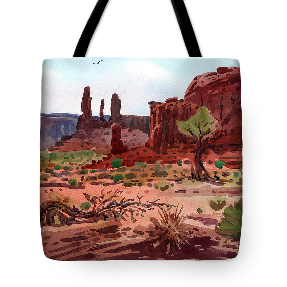 Monument Valley Tote Bag featuring the painting Afternoon In Monument Valley by Donald Maier