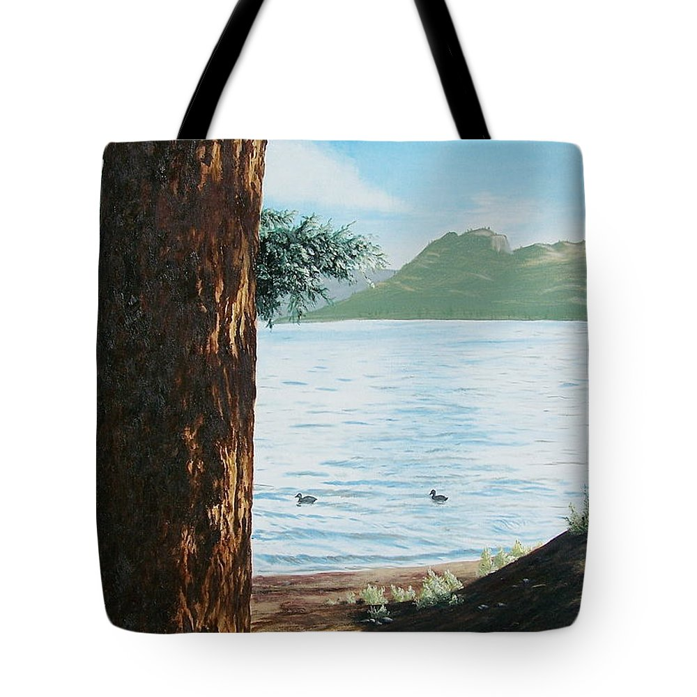 Tree Tote Bag featuring the painting Afternoon Invitation by Bonnie Heather