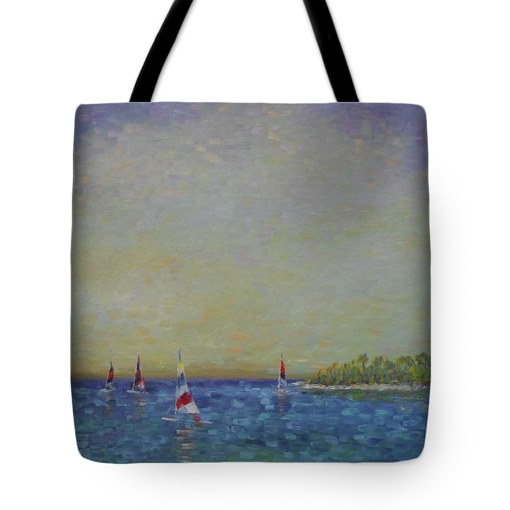 My #blueoceanstrategy Tote Bag featuring the painting Afternoon Sailing by Gail Kent