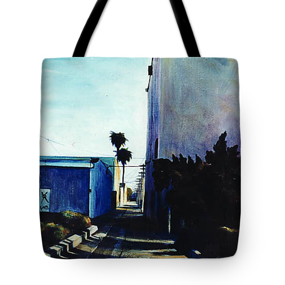Cityscapes Tote Bag featuring the painting Afternoon Shade by Duke Windsor