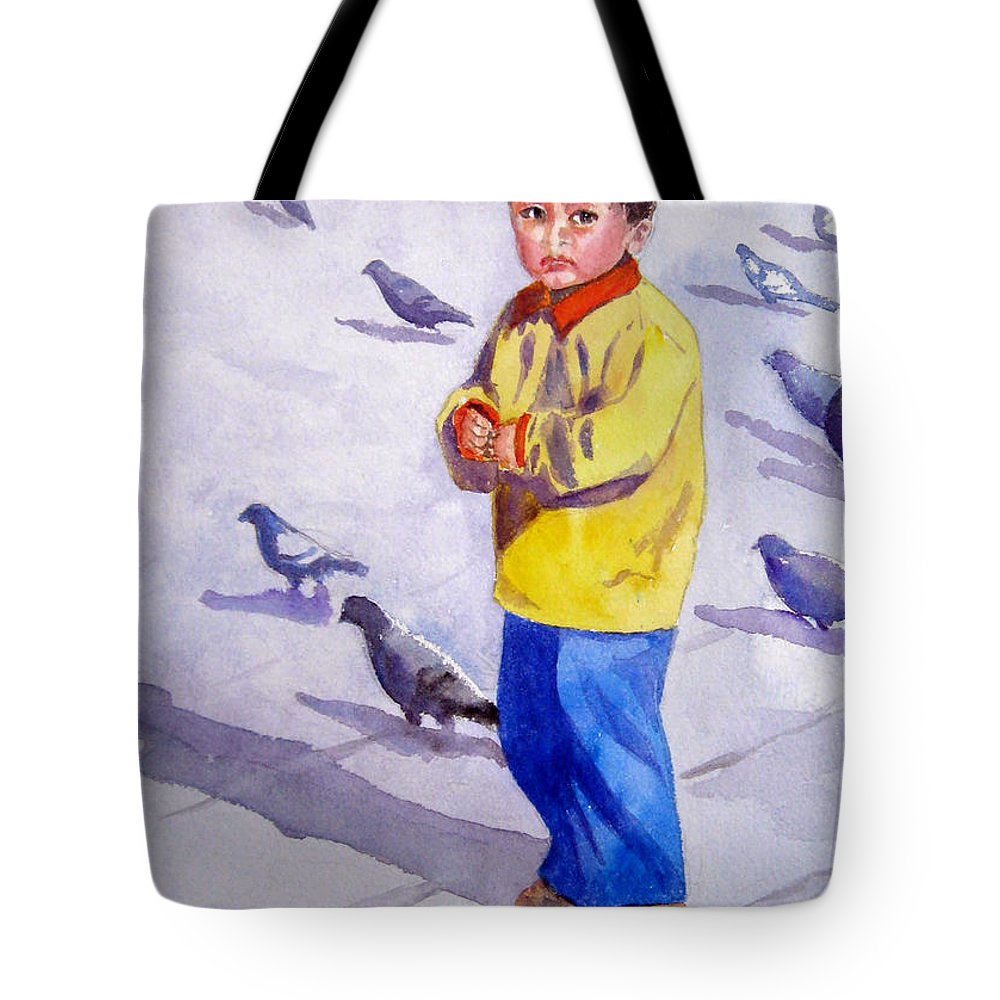 Boy Tote Bag featuring the painting Afternoon Shadows In Lima by Marsha Elliott