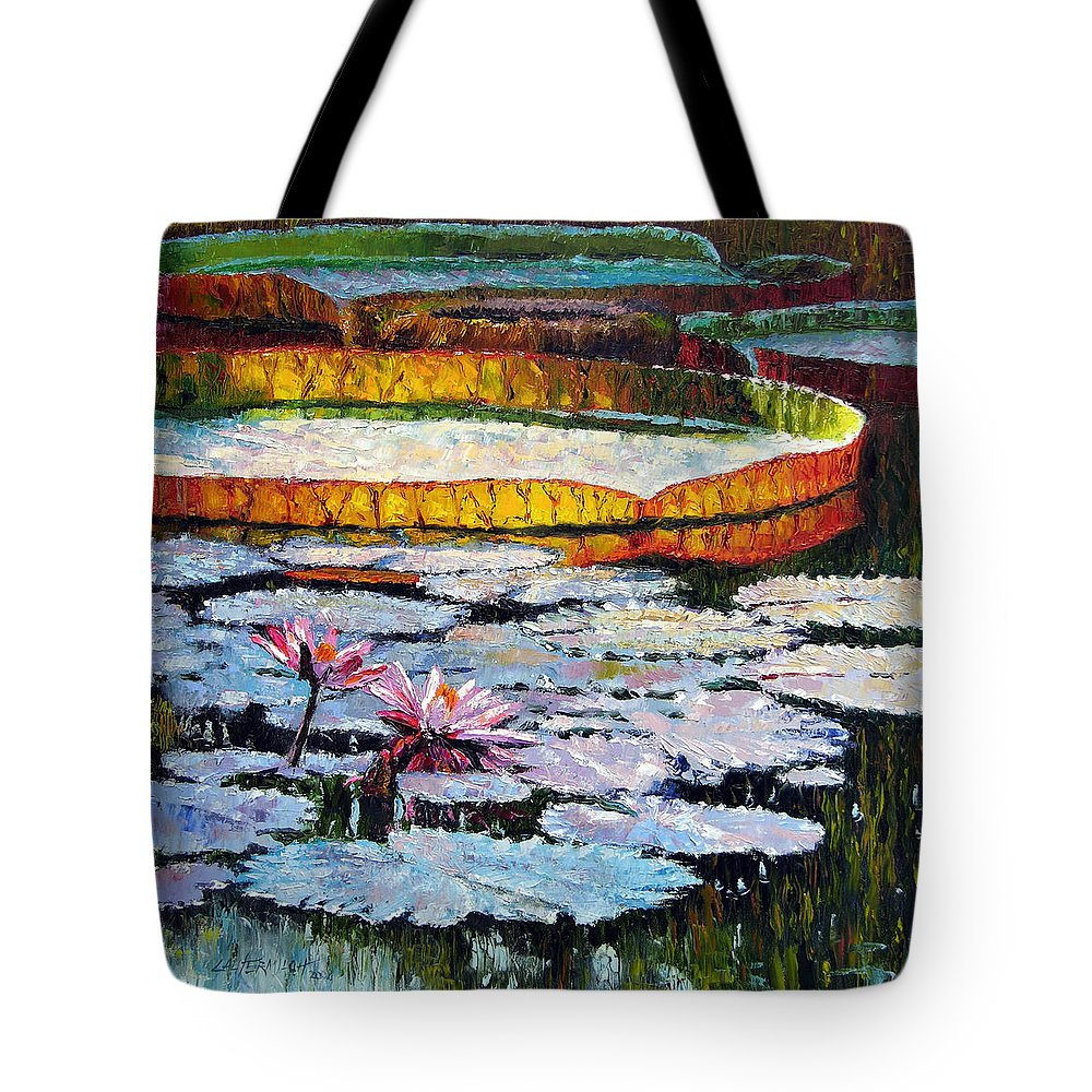 Water Lilies Tote Bag featuring the painting Afternoon Shadows by John Lautermilch