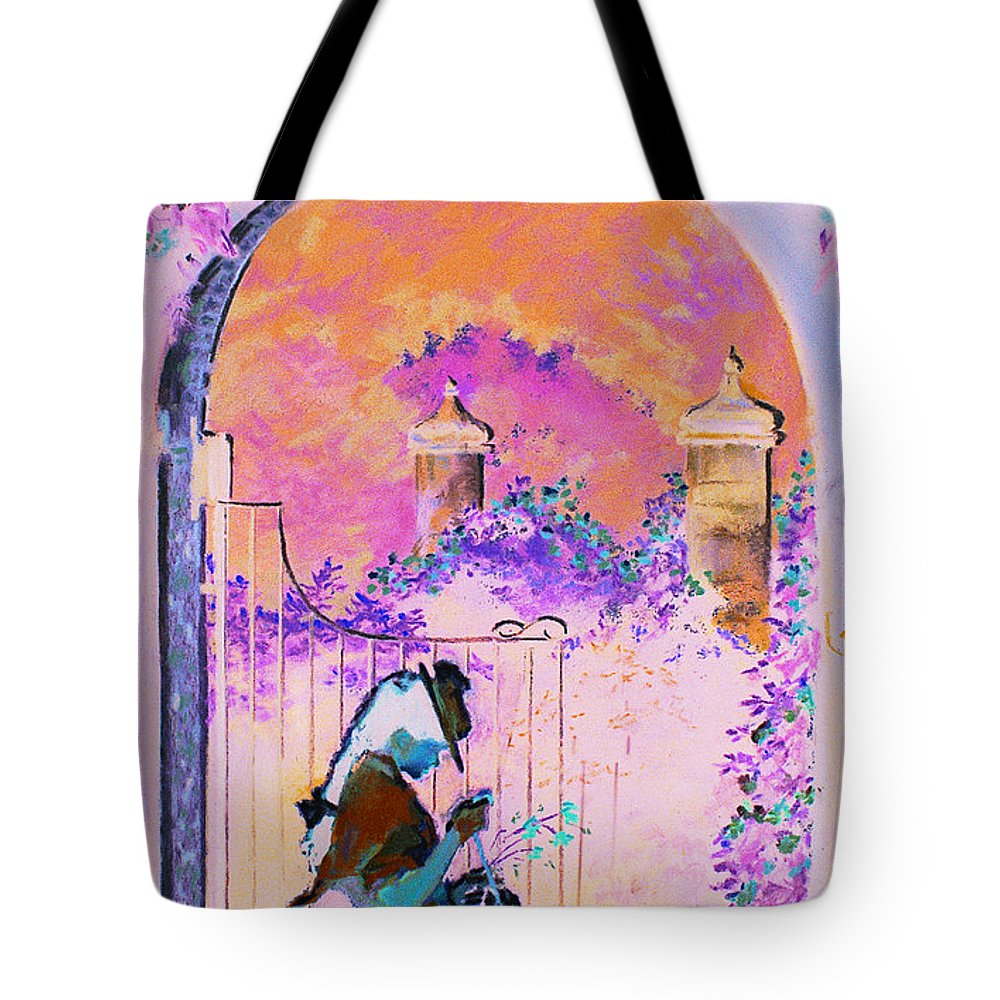 Rose Tote Bag featuring the painting Afternoon Stroll by Jean Hildebrant
