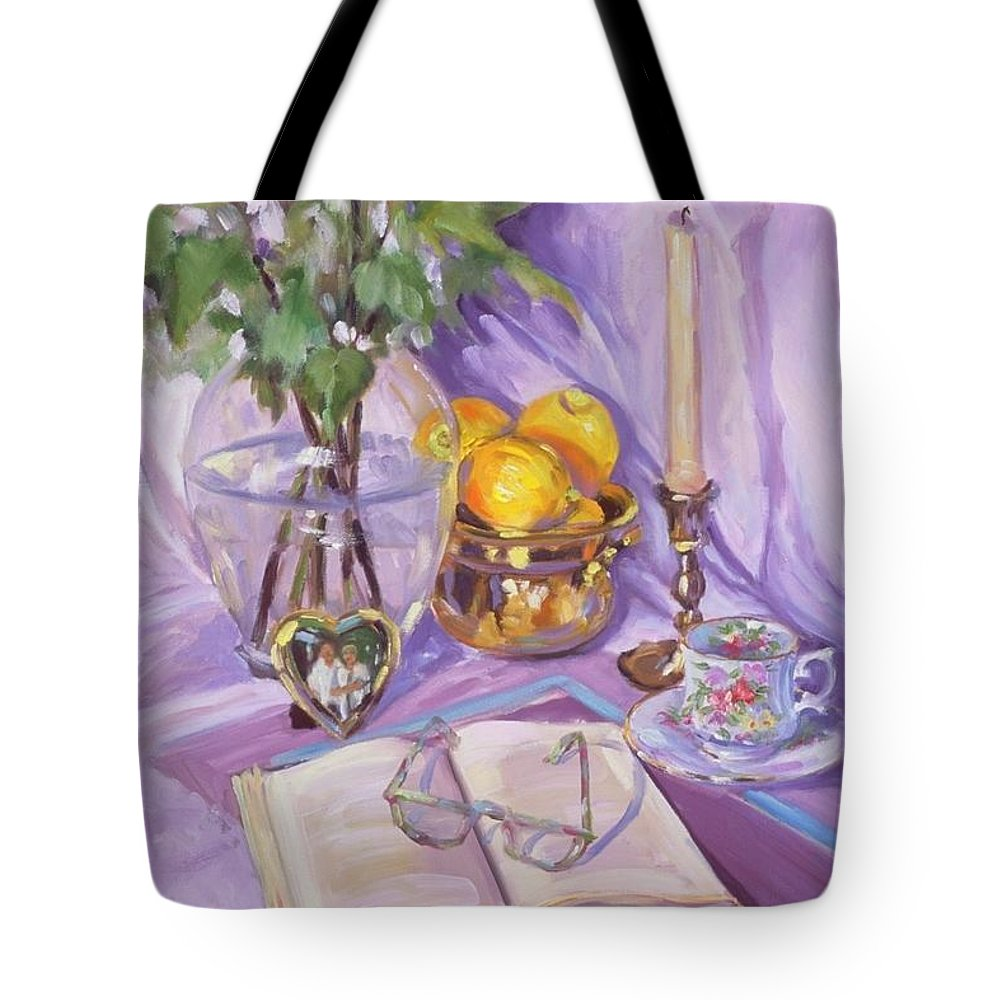 Still Life Tote Bag featuring the painting Afternoon Tea by Laura Lee Zanghetti