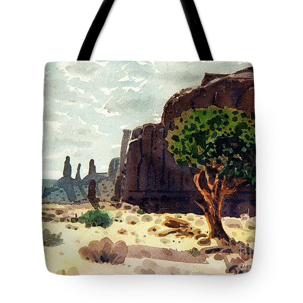 Three Sisters Tote Bag featuring the painting Afternoon View by Donald Maier