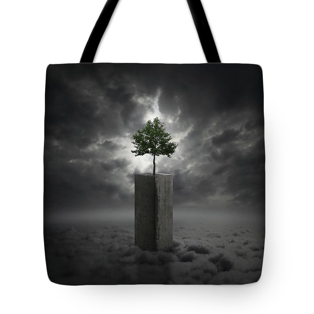 Cloud Tote Bag featuring the digital art Against All Odds by Zoltan Toth