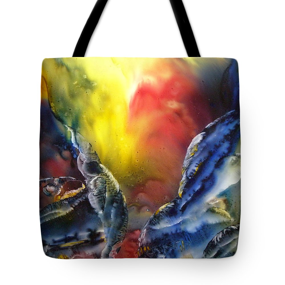 Fish Tote Bag featuring the painting Against The Current by Janice Nabors Raiteri