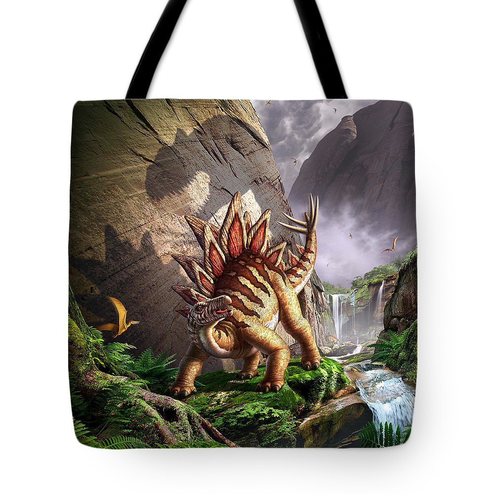 Stegosaurus Tote Bag featuring the digital art Against The Wall by Jerry LoFaro