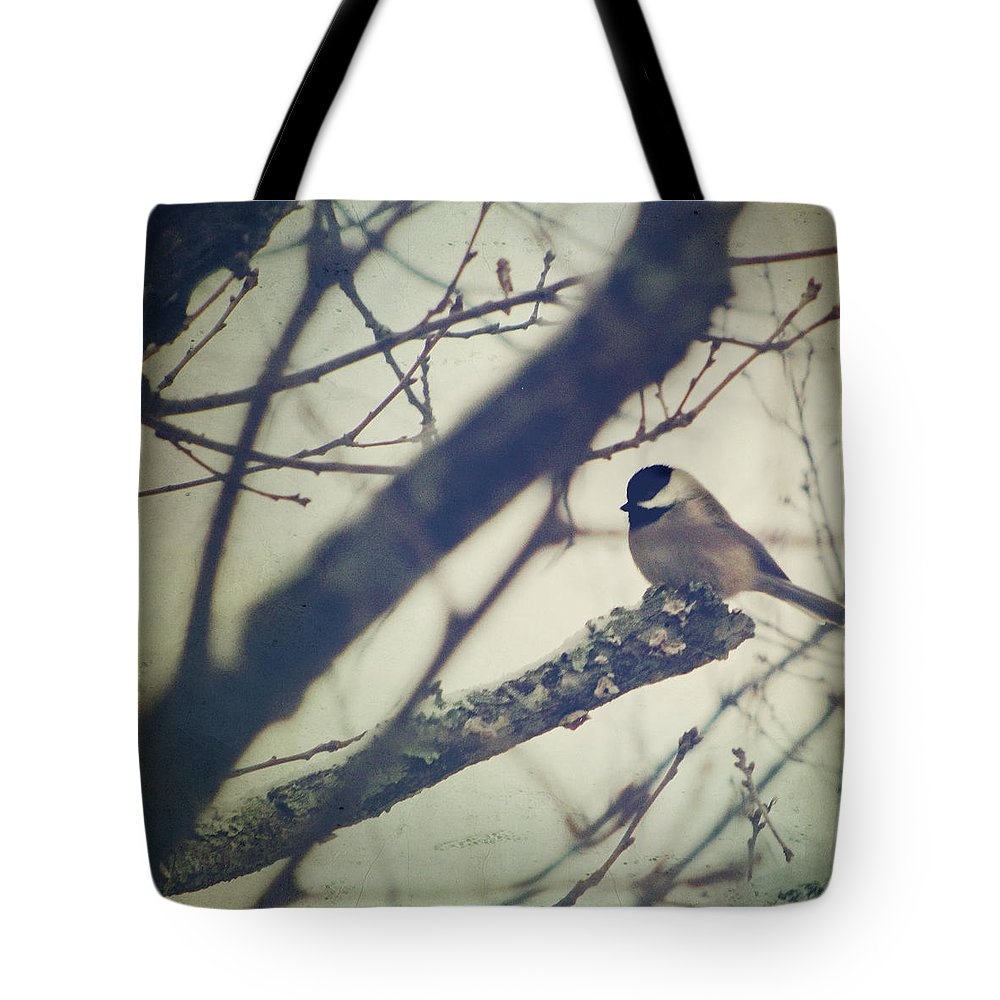 Chickadee Tote Bag featuring the photograph Against The Wind by Amy Tyler