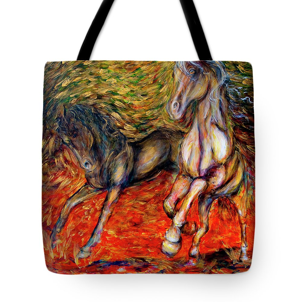 Horses Tote Bag featuring the painting Against The Wind IIi by Nik Helbig