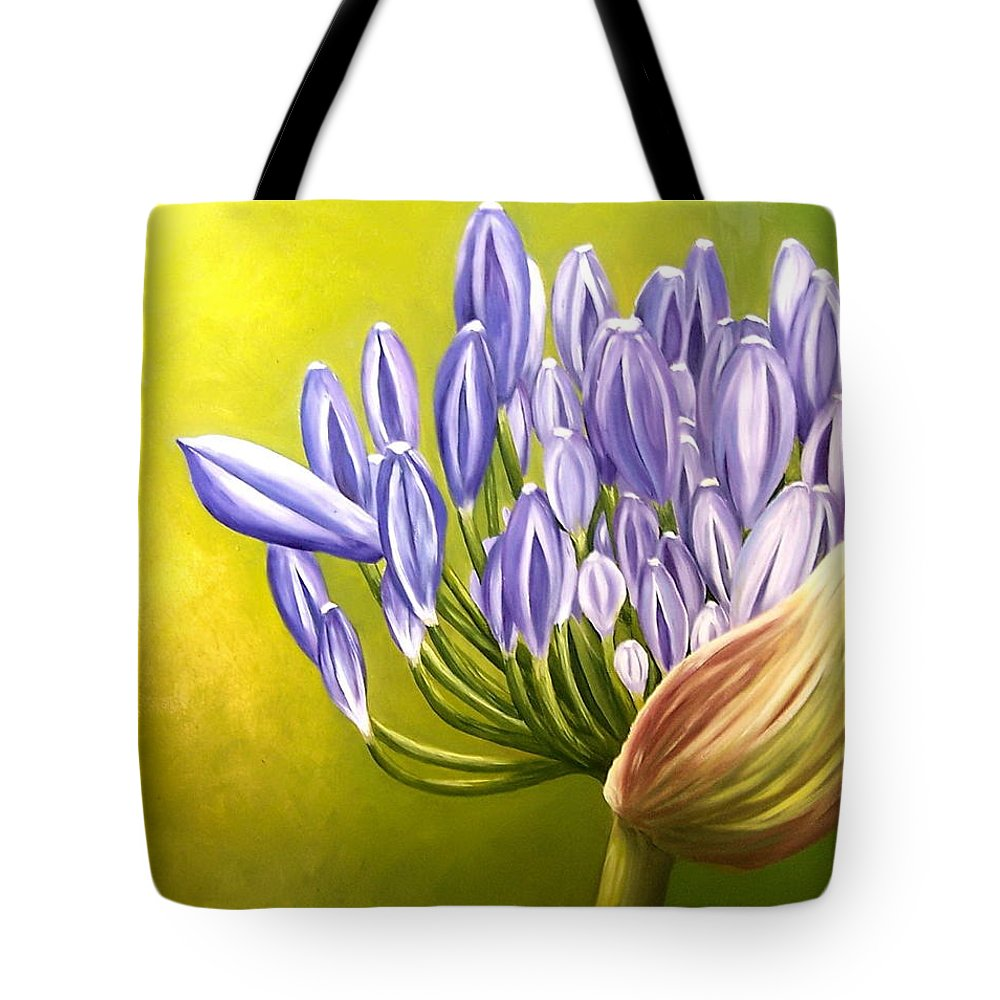 Flower Tote Bag featuring the painting Agapanthos by Natalia Tejera