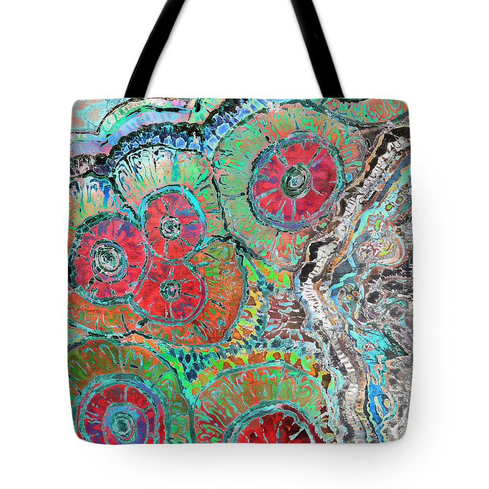 Agates Tote Bag featuring the painting Agate Inspiration - 16b by Sue Duda