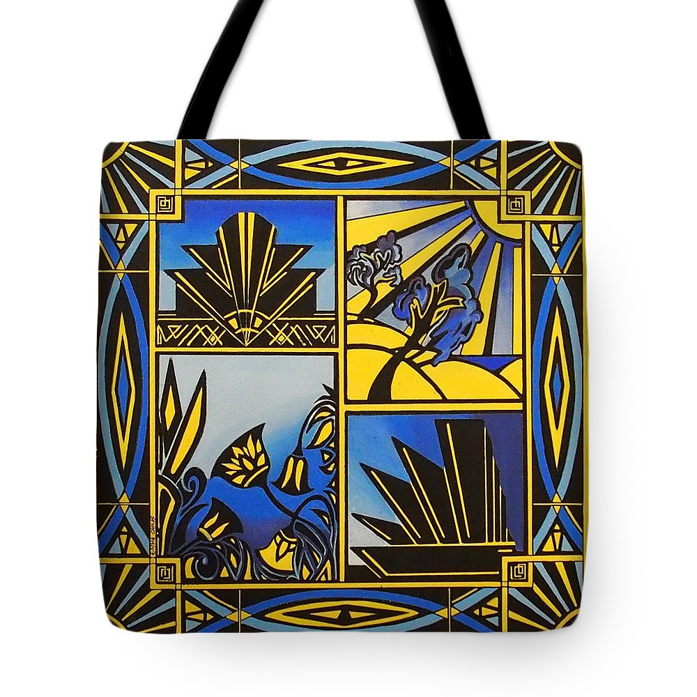 Art Tote Bag featuring the painting Art Deco In Blue by Emma Childs