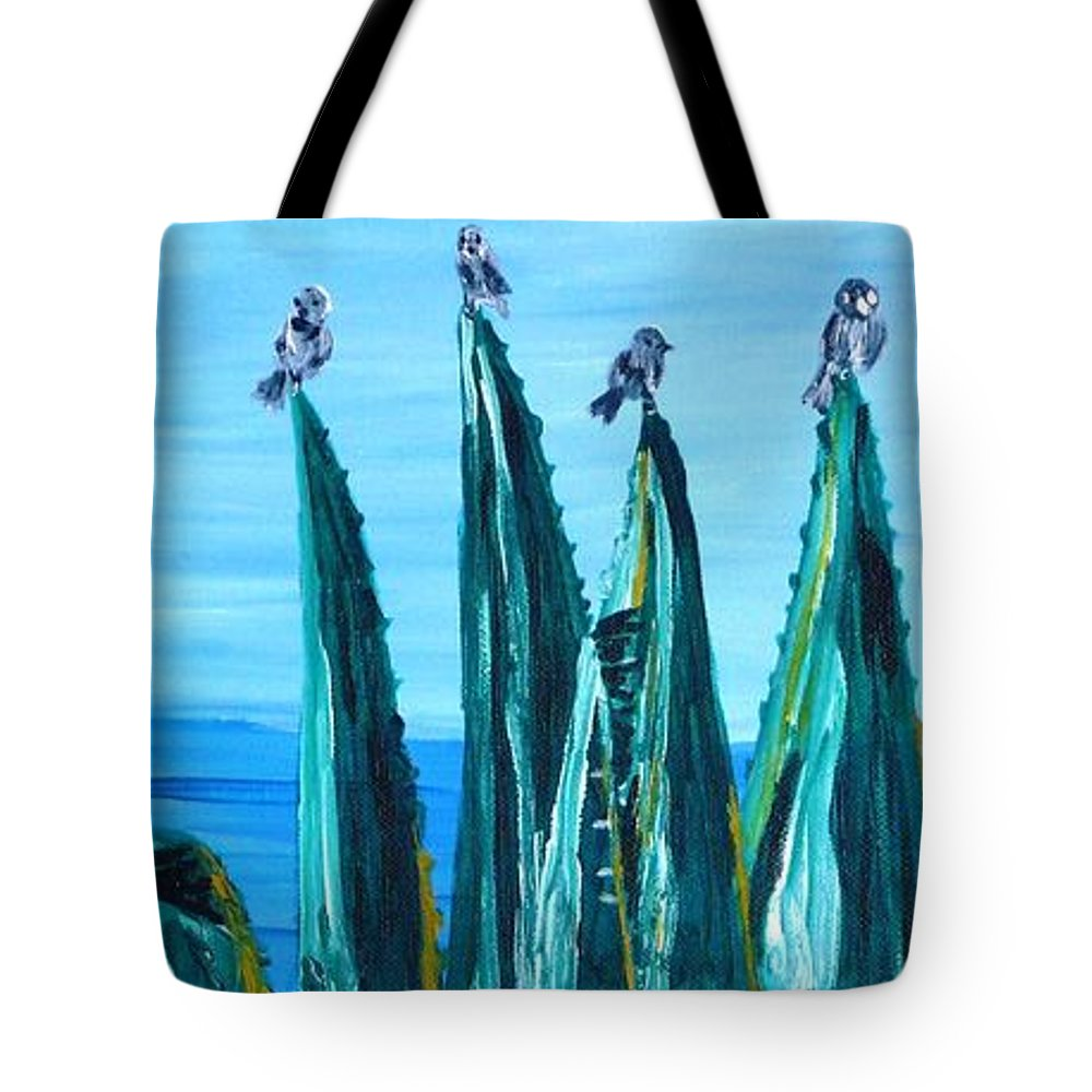 Landscape Tote Bag featuring the painting Agave With Sparrows by Valerie Ornstein