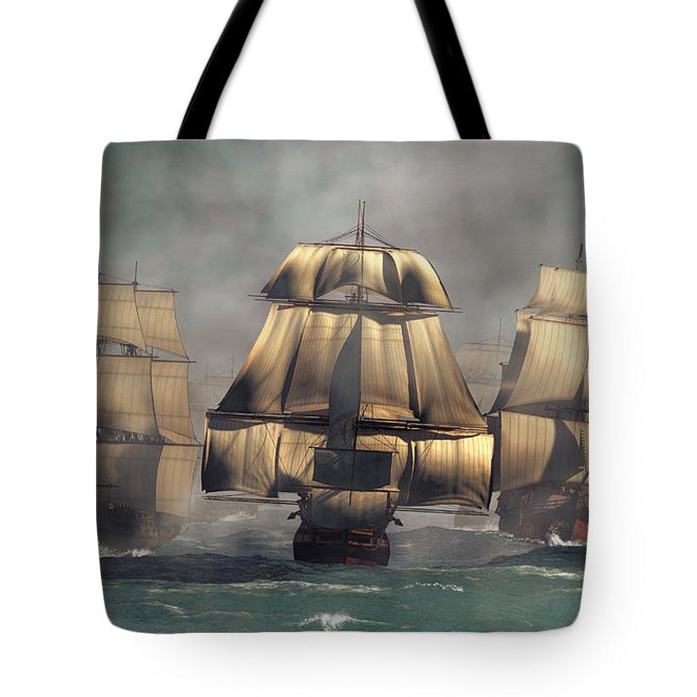 Age Of Sail Tote Bag featuring the digital art Age Of Sail by Daniel Eskridge