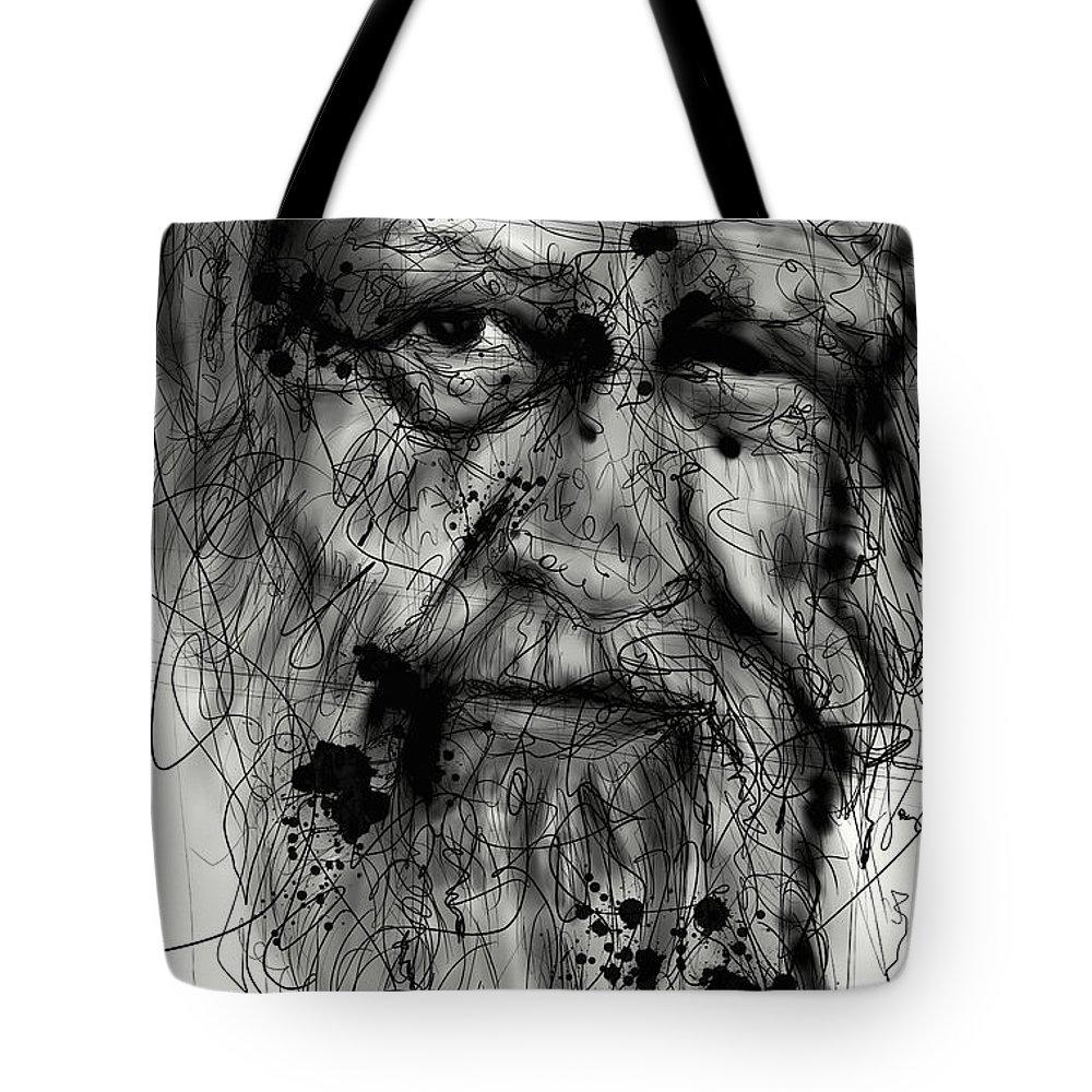 Portrait Tote Bag featuring the digital art Aged by Ellen Dawson