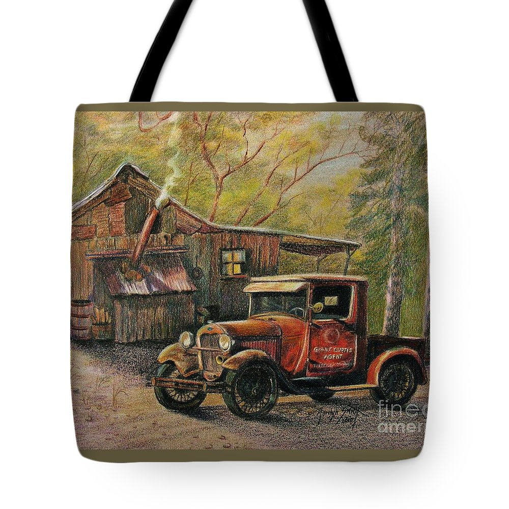 Old Trucks Tote Bag featuring the drawing Agent's Visit by Marilyn Smith