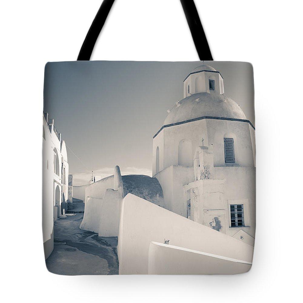 Greek Tote Bag featuring the photograph Agios Minas Santorini Bw by Eva Tziampazi Rendl