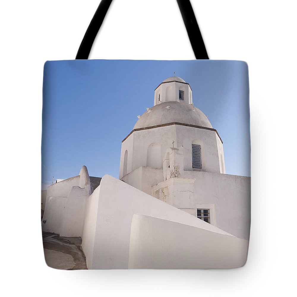 Greek Tote Bag featuring the photograph Agios Minas Santorini by Eva Tziampazi Rendl