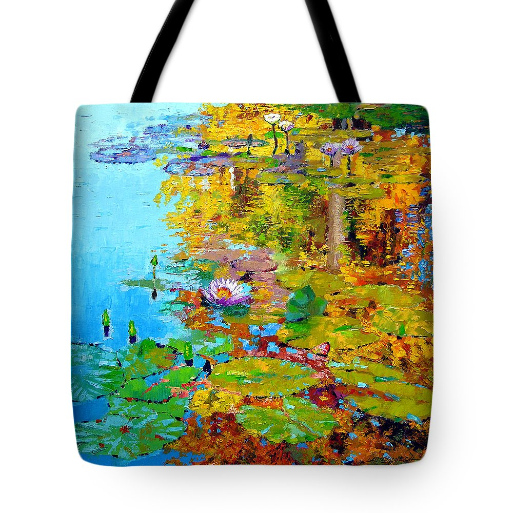 Fall Tote Bag featuring the painting Aglow With Fall by John Lautermilch