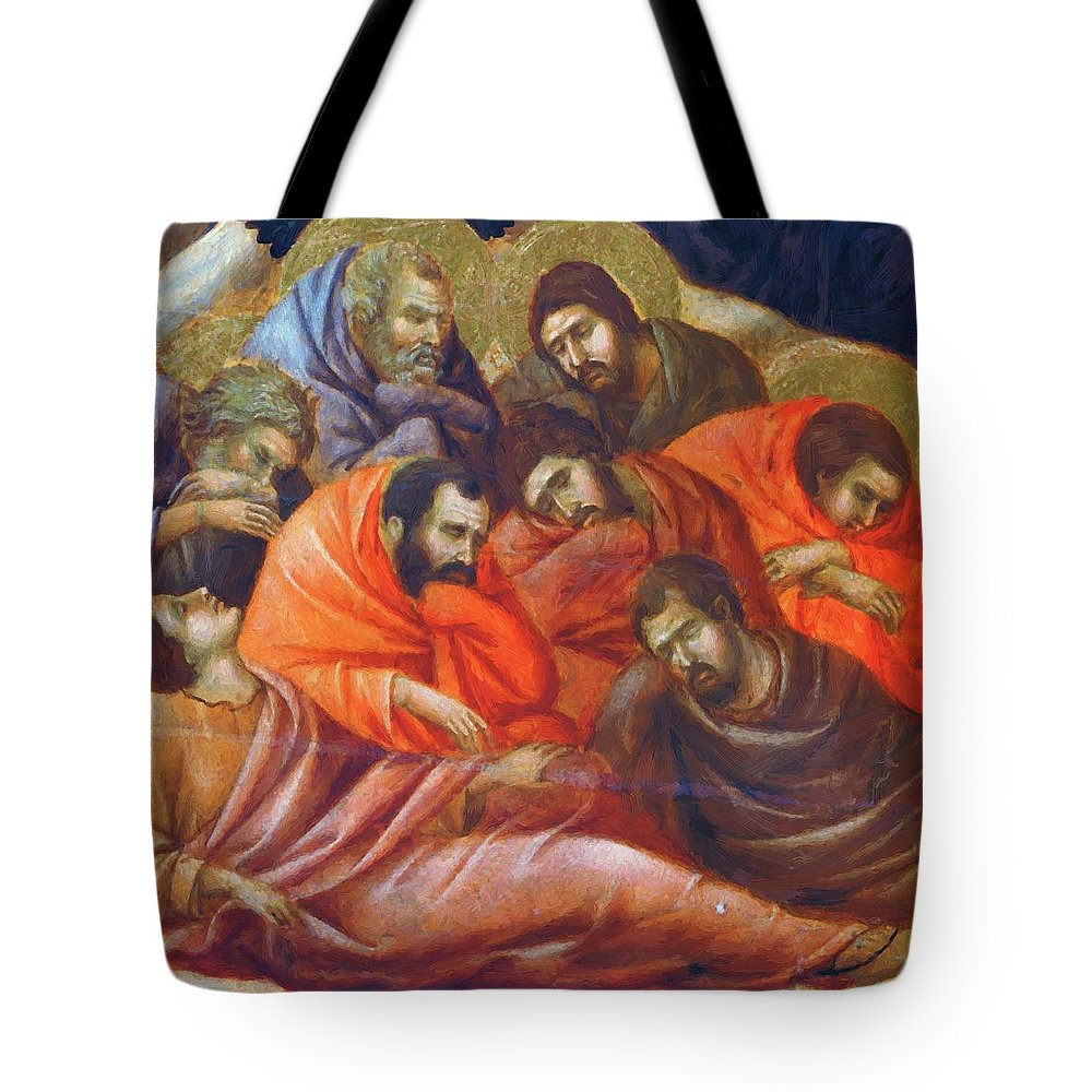 Agony Tote Bag featuring the painting Agony In The Garden Fragment 1311 by Duccio