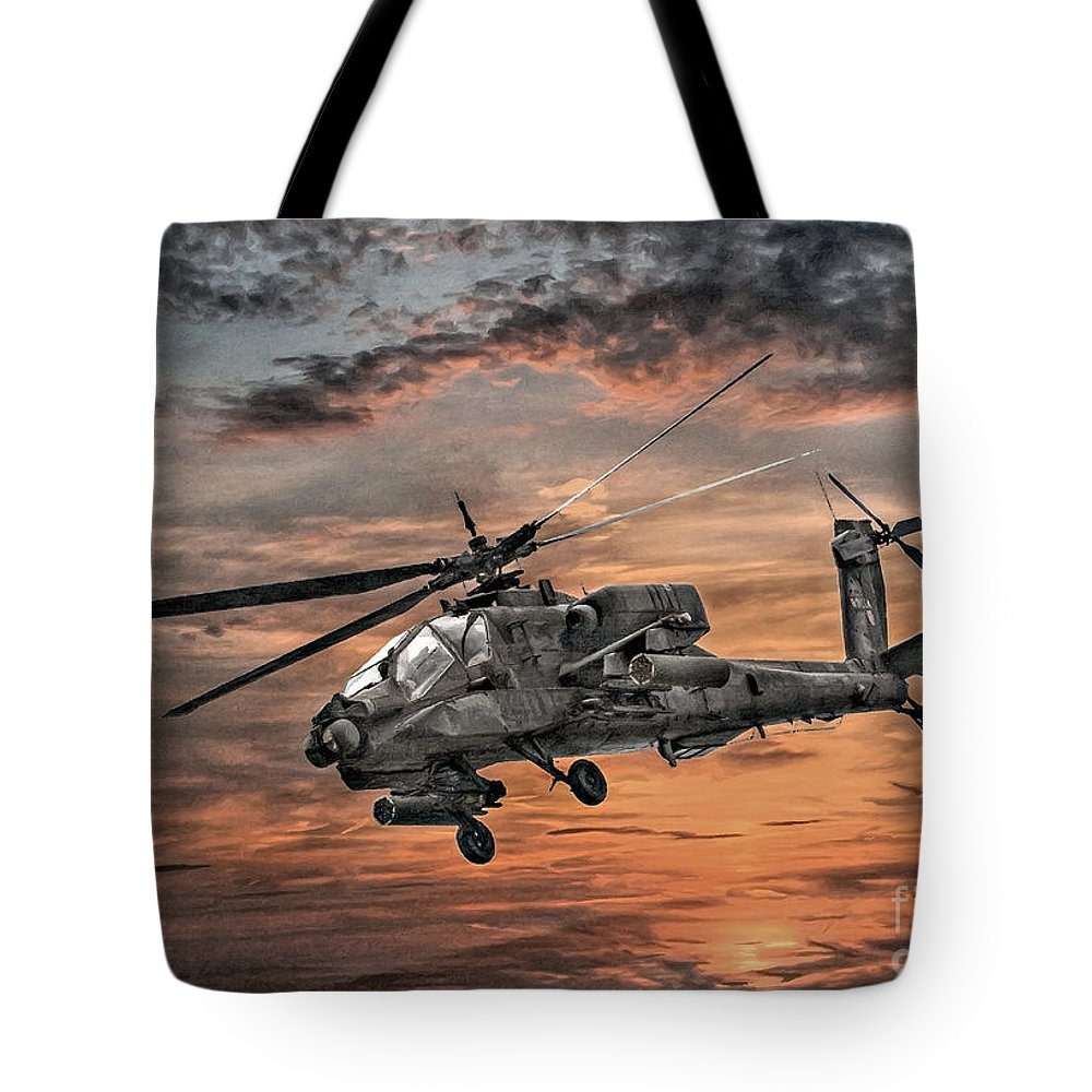 U.s. Army Tote Bag featuring the digital art Ah-64 Apache Attack Helicopter by Randy Steele