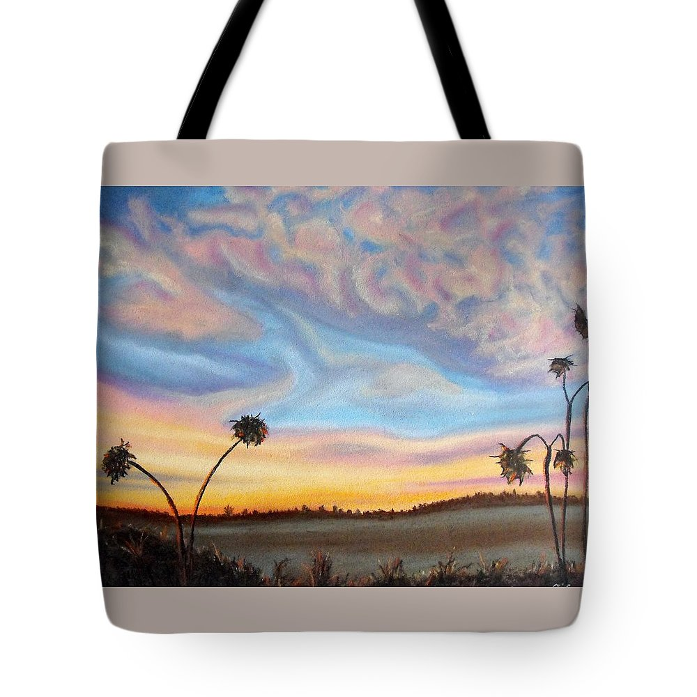 Pastel Tote Bag featuring the painting Ah Sunflower. Dried Sunflower Heads With Stylized Sky Backdrop by Lynn ACourt