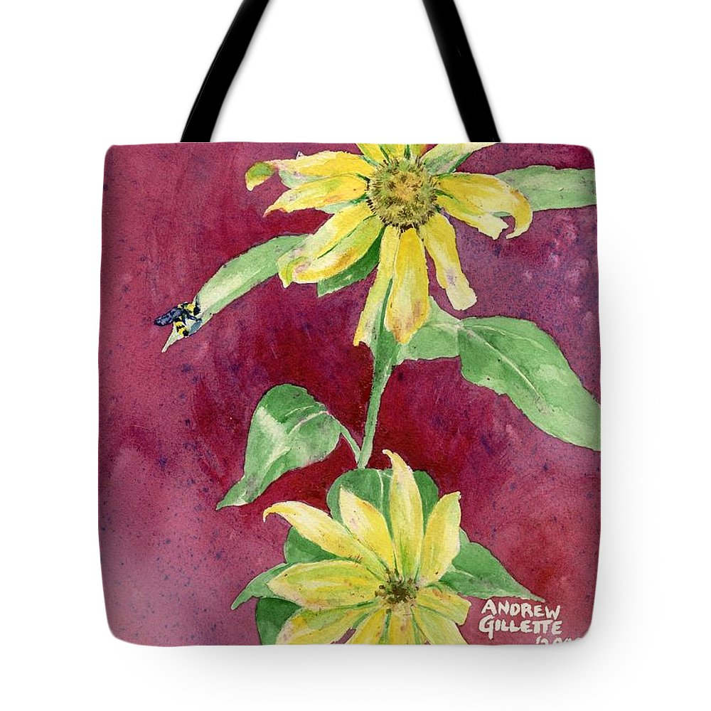 Sunflower Tote Bag featuring the painting Ah Sunflowers by Andrew Gillette