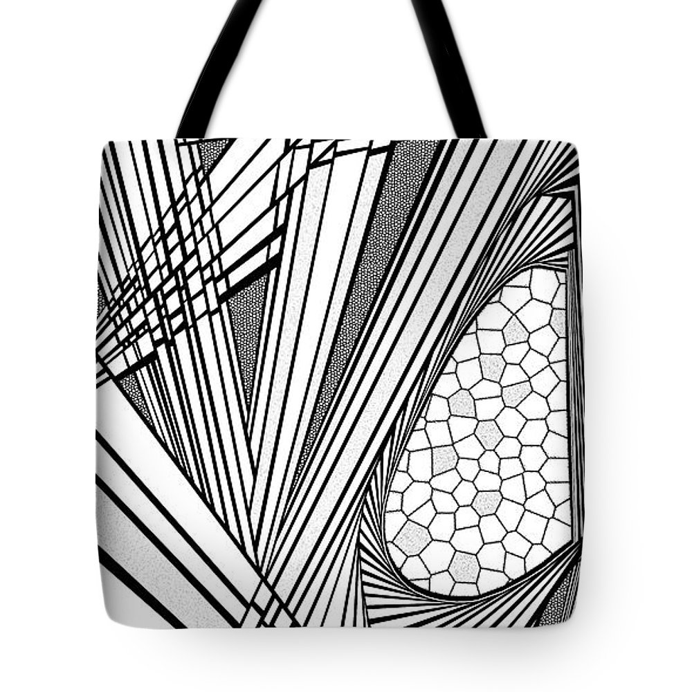 Dynamic Black And White Tote Bag featuring the painting Ah Well by Douglas Christian Larsen