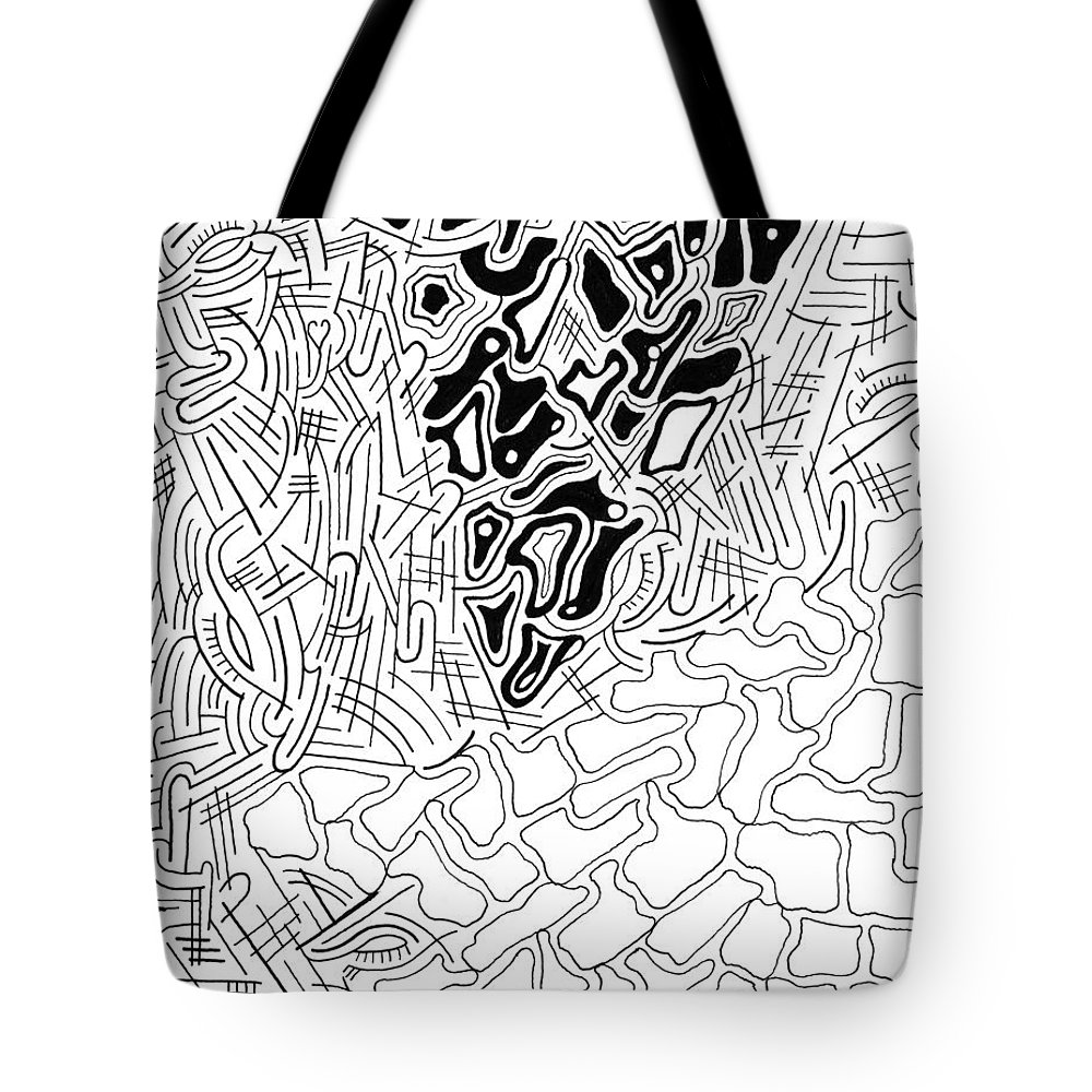 Abstract Tote Bag featuring the drawing Aikya by Steven Natanson