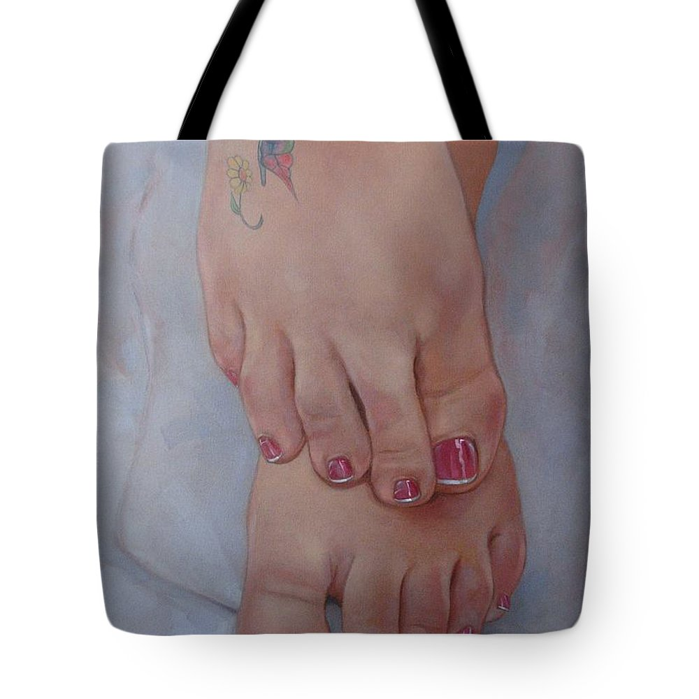 Pretty Feet Tote Bag featuring the painting Aimee by Jerrold Carton