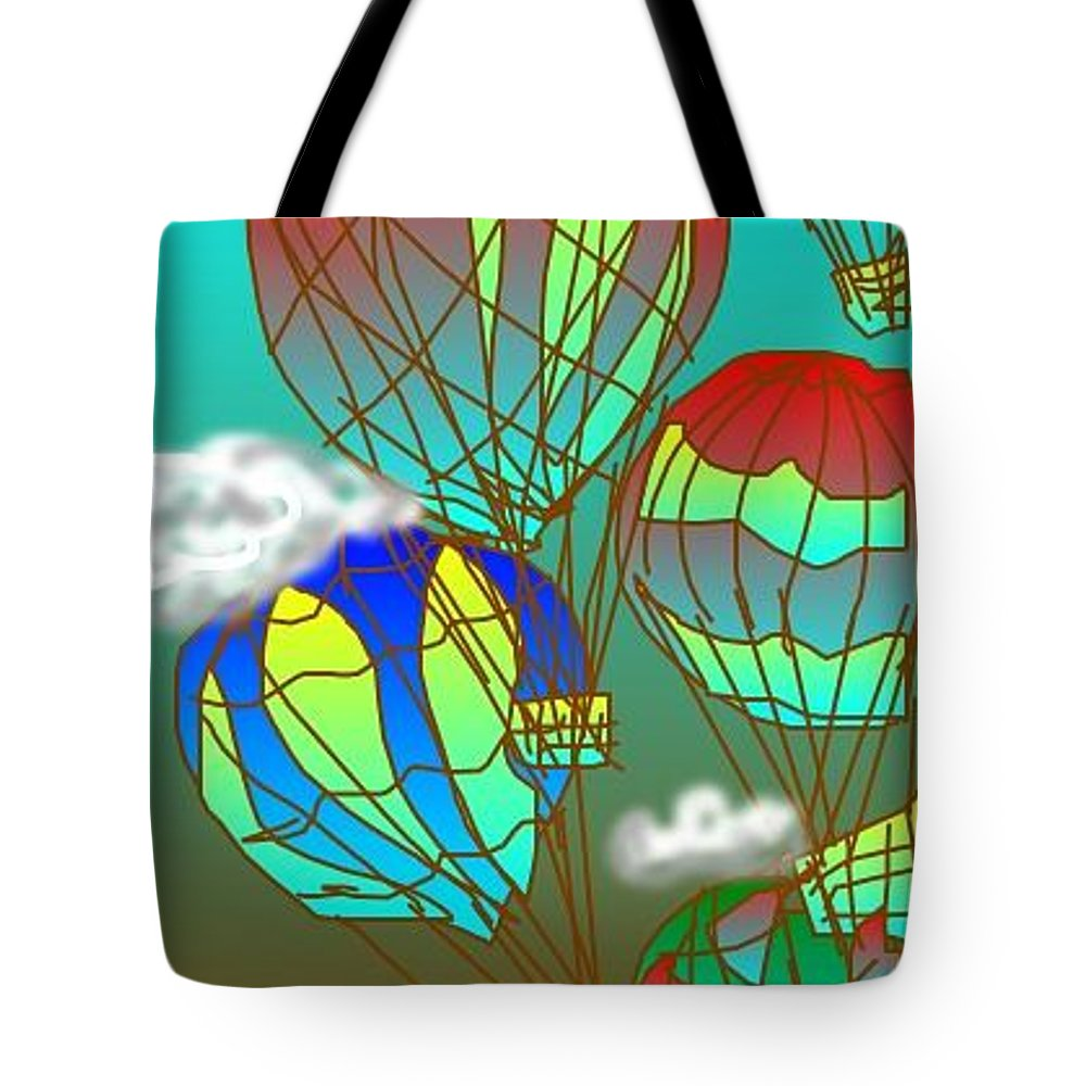 Original Art Tote Bag featuring the digital art Air Balloons by Rae Chichilnitsky