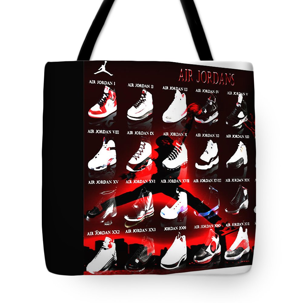 b9008a8fbee4 Michael Jordan Tote Bag featuring the digital art Air Jordan Shoe Gallery  II by Brian Reaves