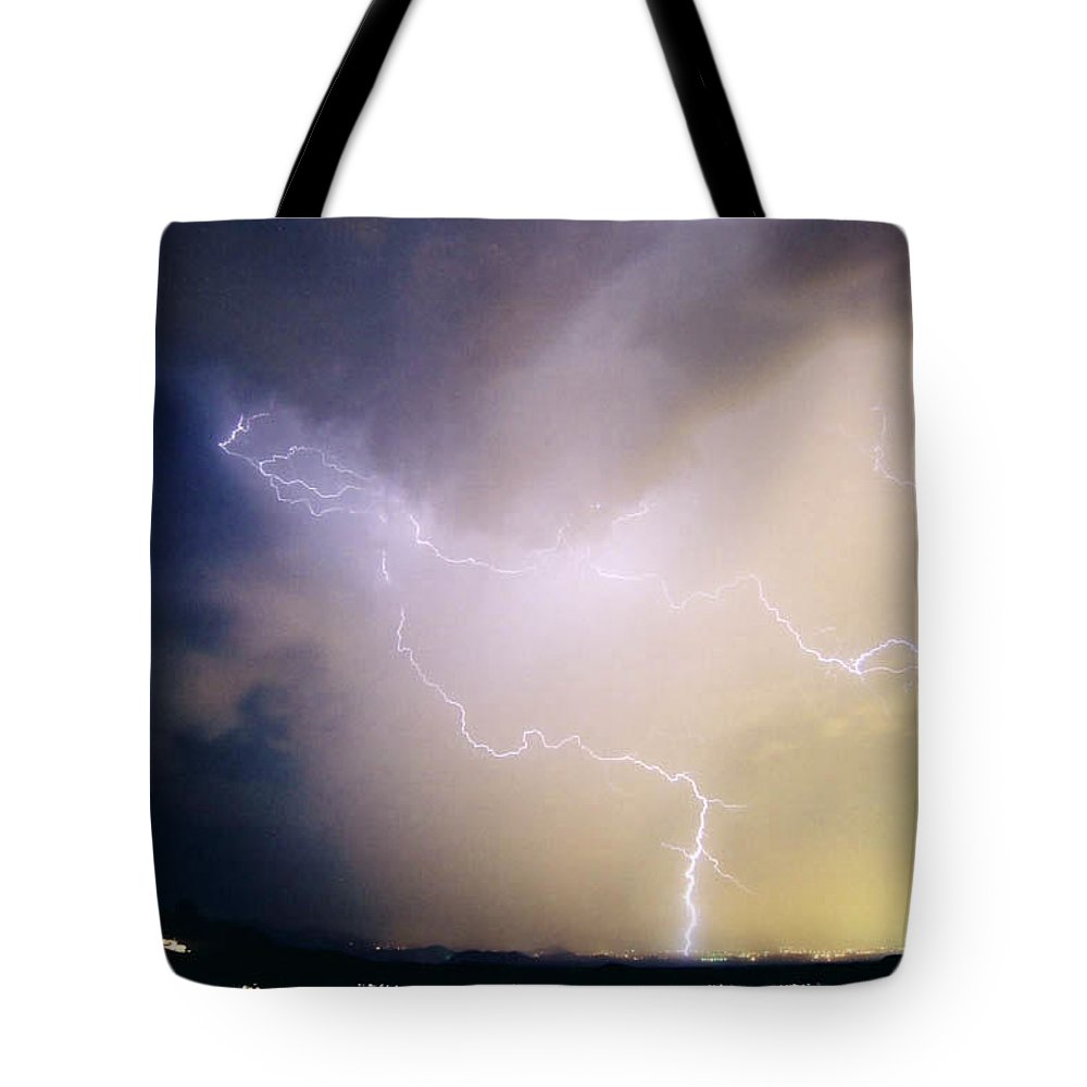 Lightning Tote Bag featuring the photograph Air Strike 1 by Cathy Franklin