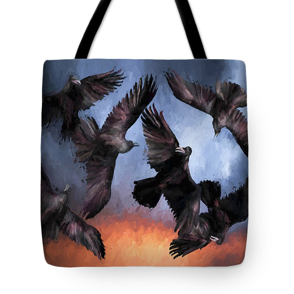 Fine Art Tote Bag featuring the painting Airborne Unkindness by David Wagner