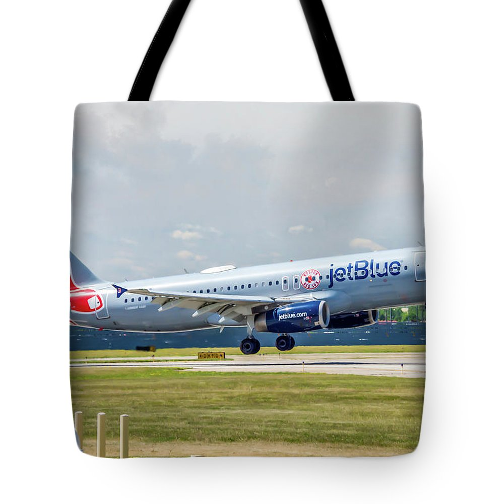 Air Travel Tote Bag featuring the photograph Airbus A320 Boston Strong by Guy Whiteley