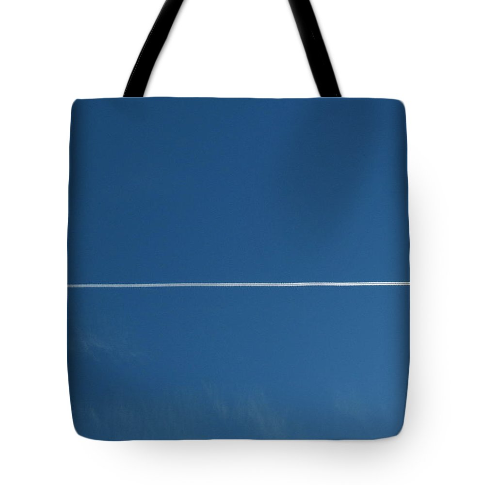 Airplane Tote Bag featuring the photograph airplane contrail SCN M 28 by Sierra Dall
