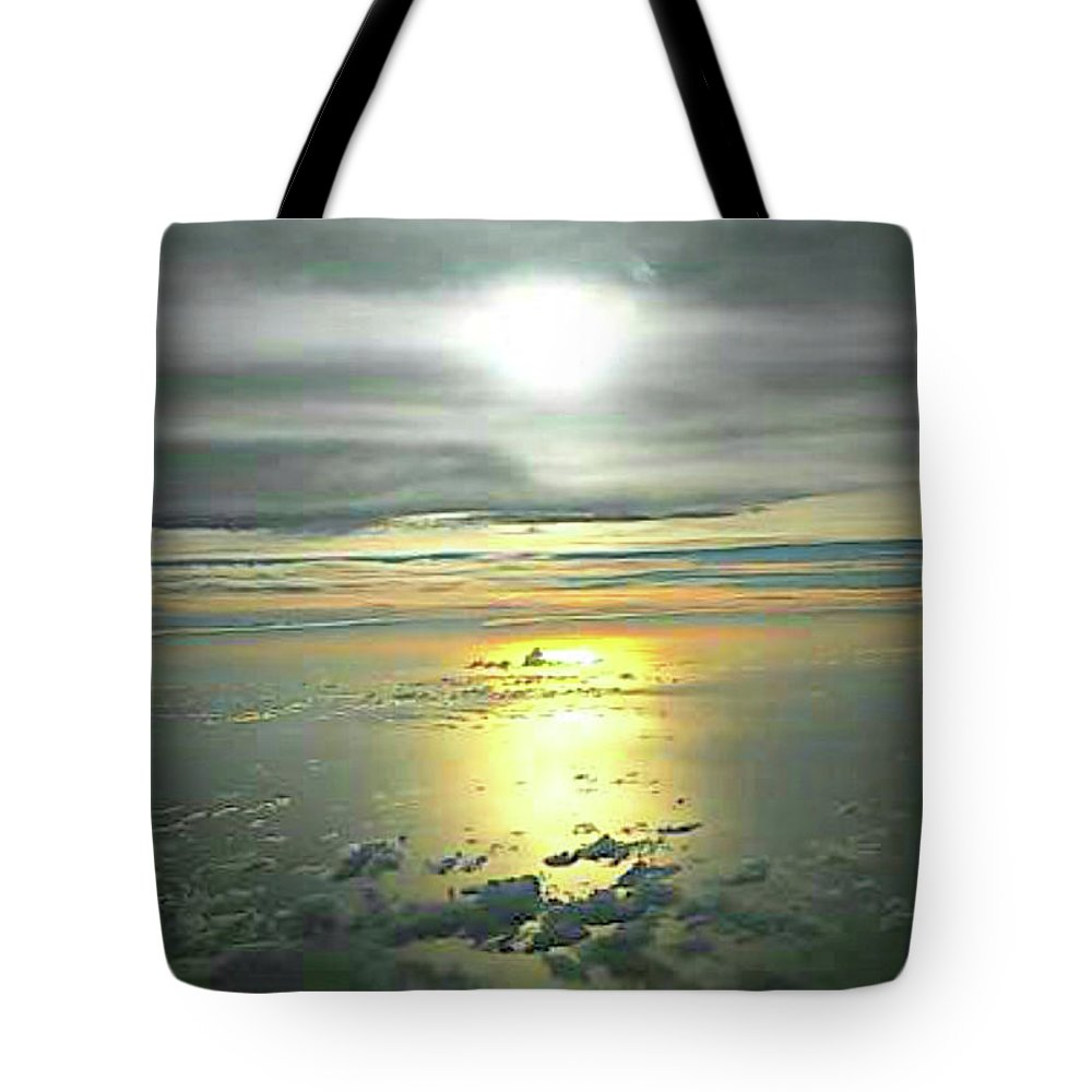 Sunset Tote Bag featuring the photograph Airplane Flash by Helen Lewis