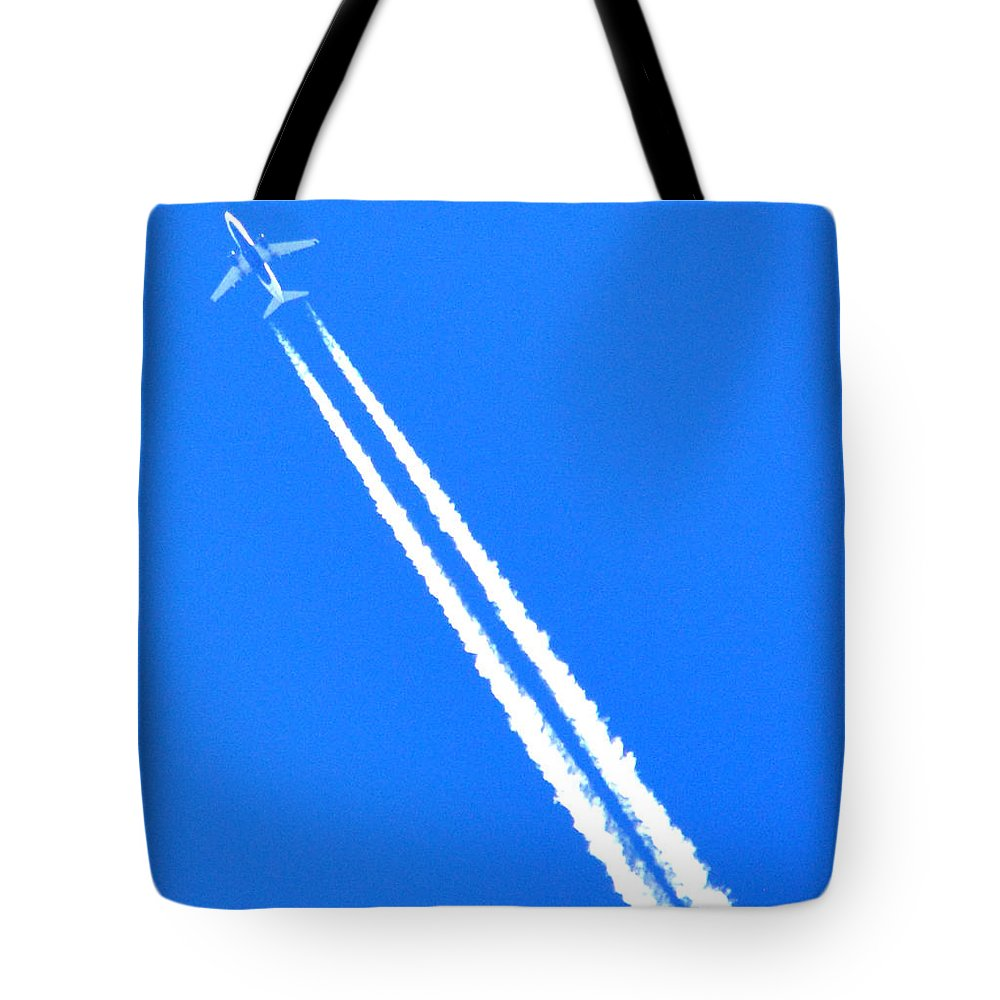 Flight Tote Bag featuring the photograph Airplane Thousands Of Feet In The Air by Reva Steenbergen