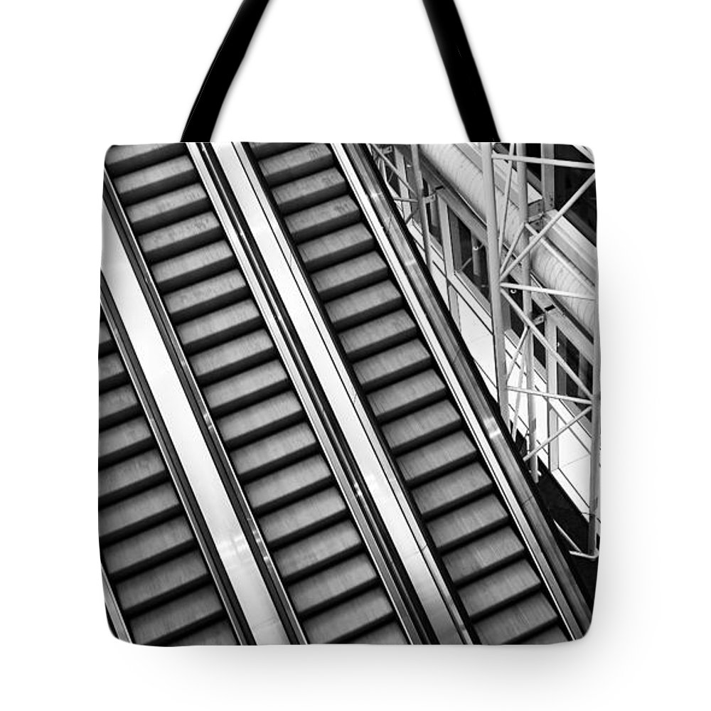 Escalator Tote Bag featuring the photograph Airport Architecture Escalator Movement by ELITE IMAGE photography By Chad McDermott
