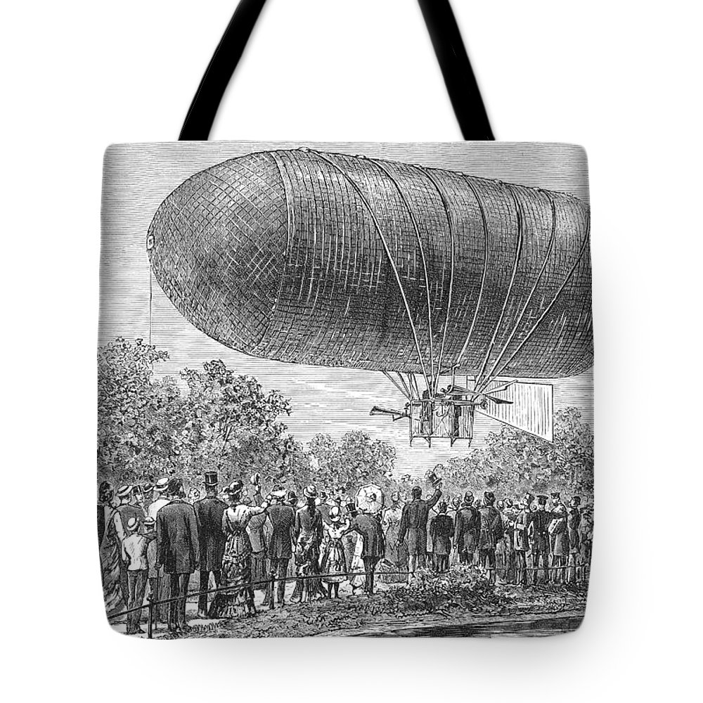1883 Tote Bag featuring the photograph Airship Ascent, 1883 by Granger