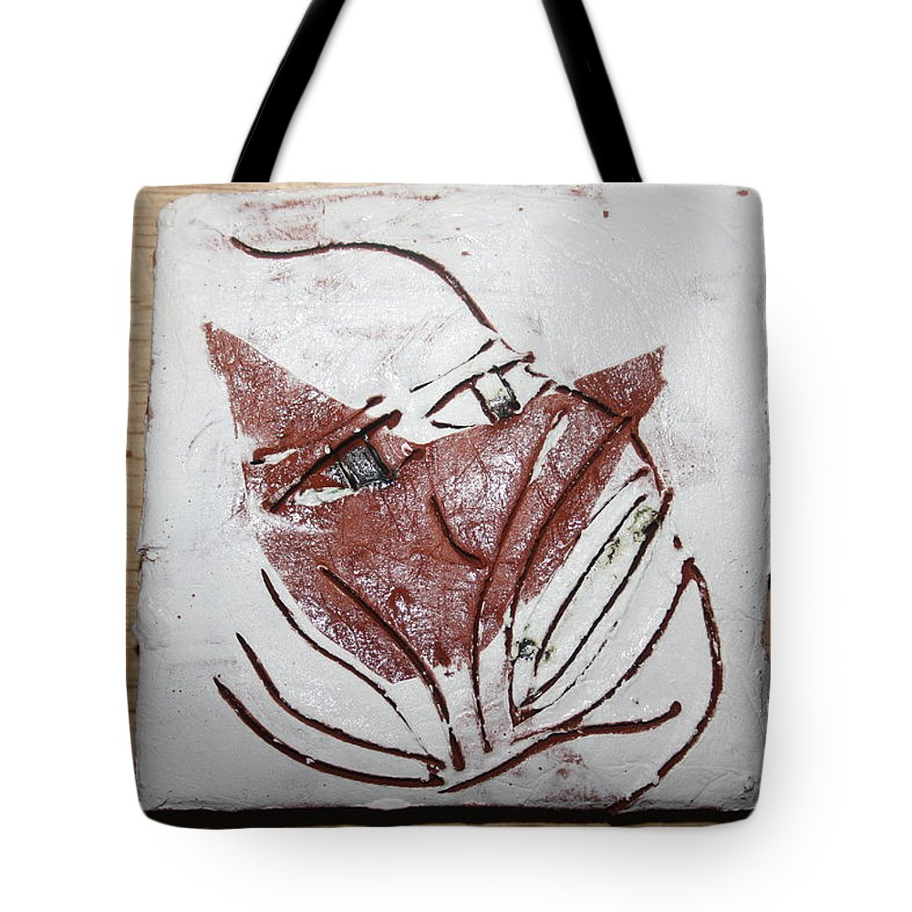Jesus Tote Bag featuring the ceramic art Aisha - Tile by Gloria Ssali