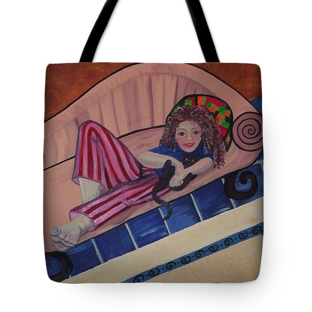 Girl On A Couch Tote Bag featuring the painting Aj On The Couch by Joan Stratton
