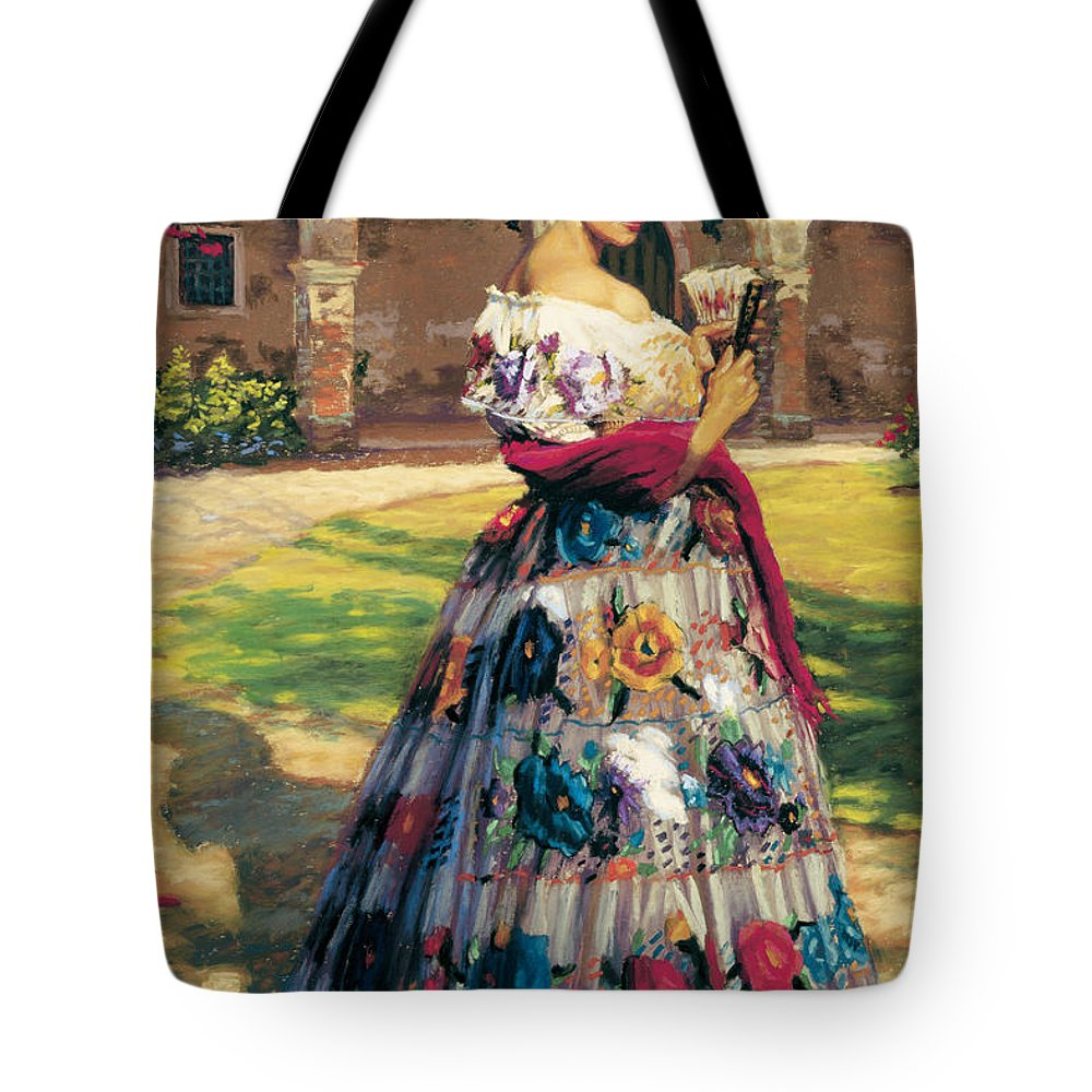 Woman Elaborately Embroidered Mexican Dress. Background Mission San Juan Capistrano. Tote Bag featuring the painting Al Aire Libre by Jean Hildebrant