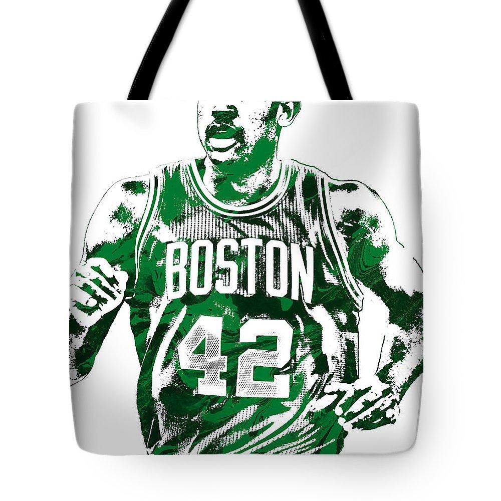 Al Horford Tote Bag featuring the mixed media Al Horford Boston Celtics Pixel Art by Joe Hamilton