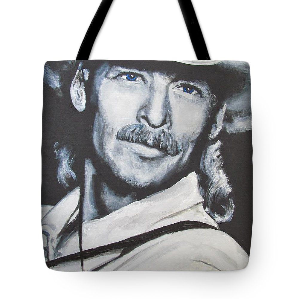 Alan Jackson Tote Bag featuring the painting Alan Jackson - In the Real World by Eric Dee
