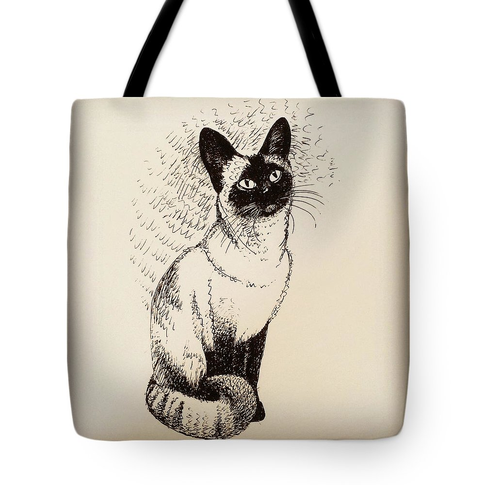 Cat Tote Bag featuring the drawing Alaska by Pookie Pet Portraits