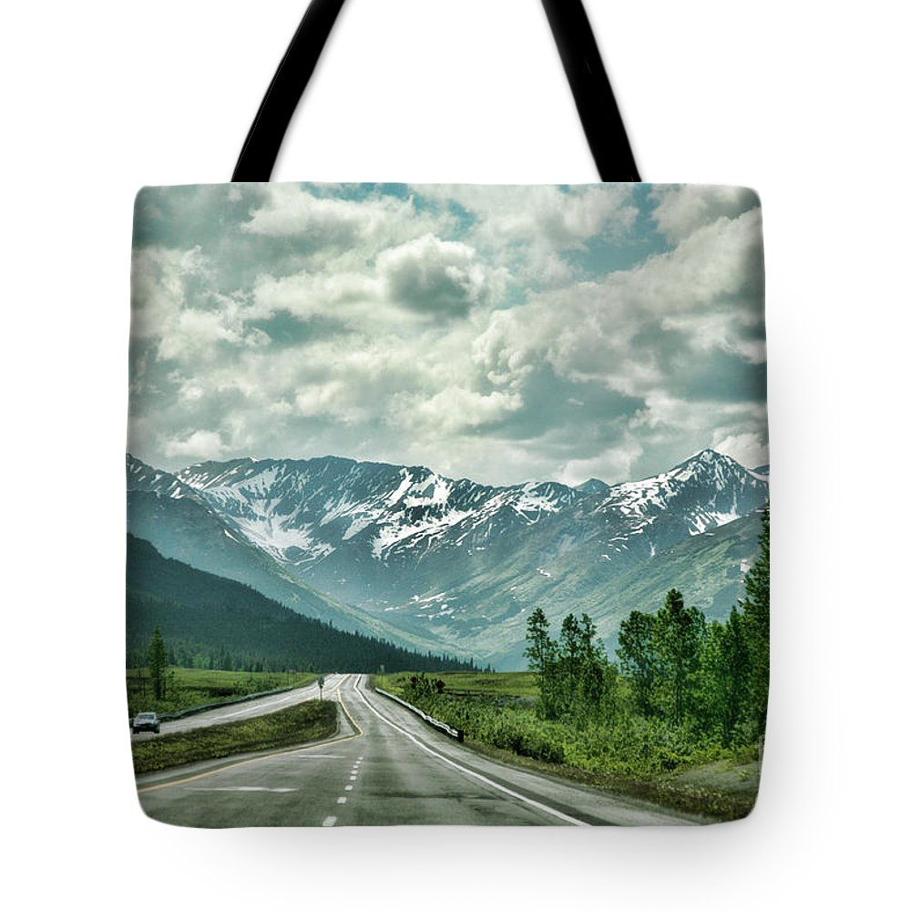 Alaska Tote Bag featuring the photograph Alaska On The Road by Chuck Kuhn